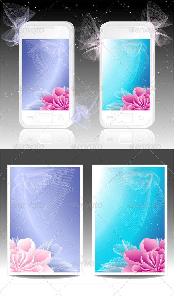 GraphicRiver White Mobile Phones with Flowers Background 4453373
