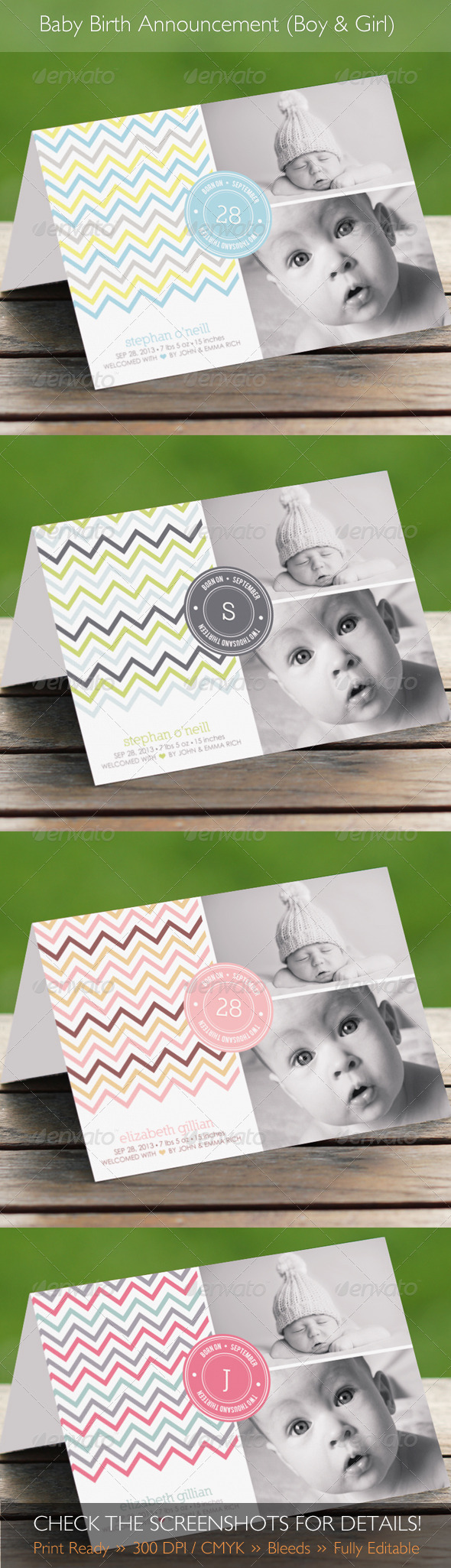 Baby Birth Announcement Boy & Girl 2 - Family Cards & Invites
