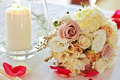 vintage wedding bouquet with candle