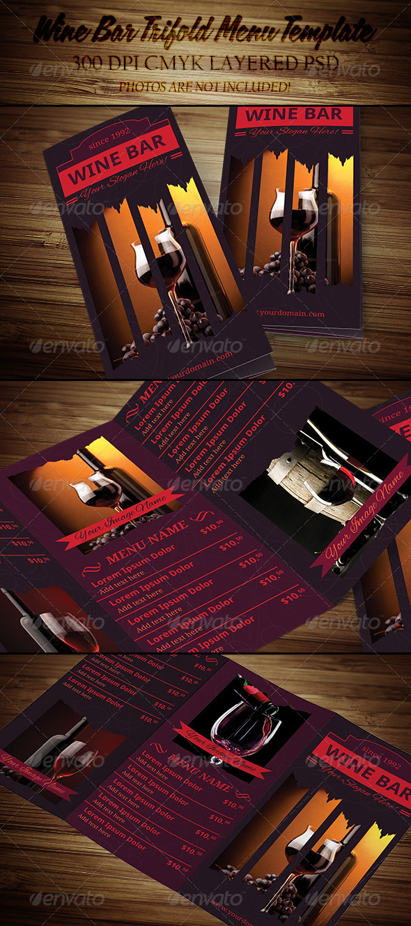 GraphicRiver Wine Bar Trifold Menu Template 4453619