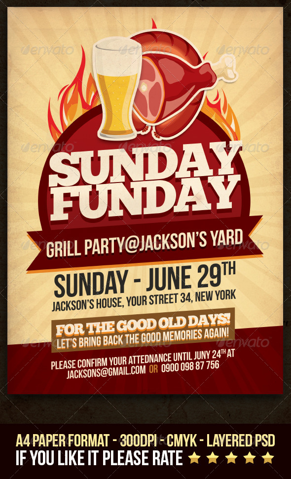 GraphicRiver Sunday Funday Grill Party Flyer 4453768