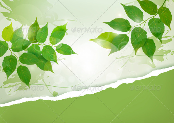 GraphicRiver Nature background with green spring leaves 4397886