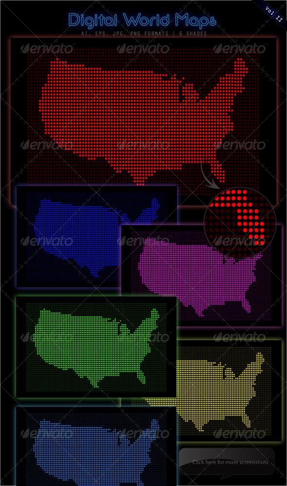 GraphicRiver Digital LED Map USA 4453882