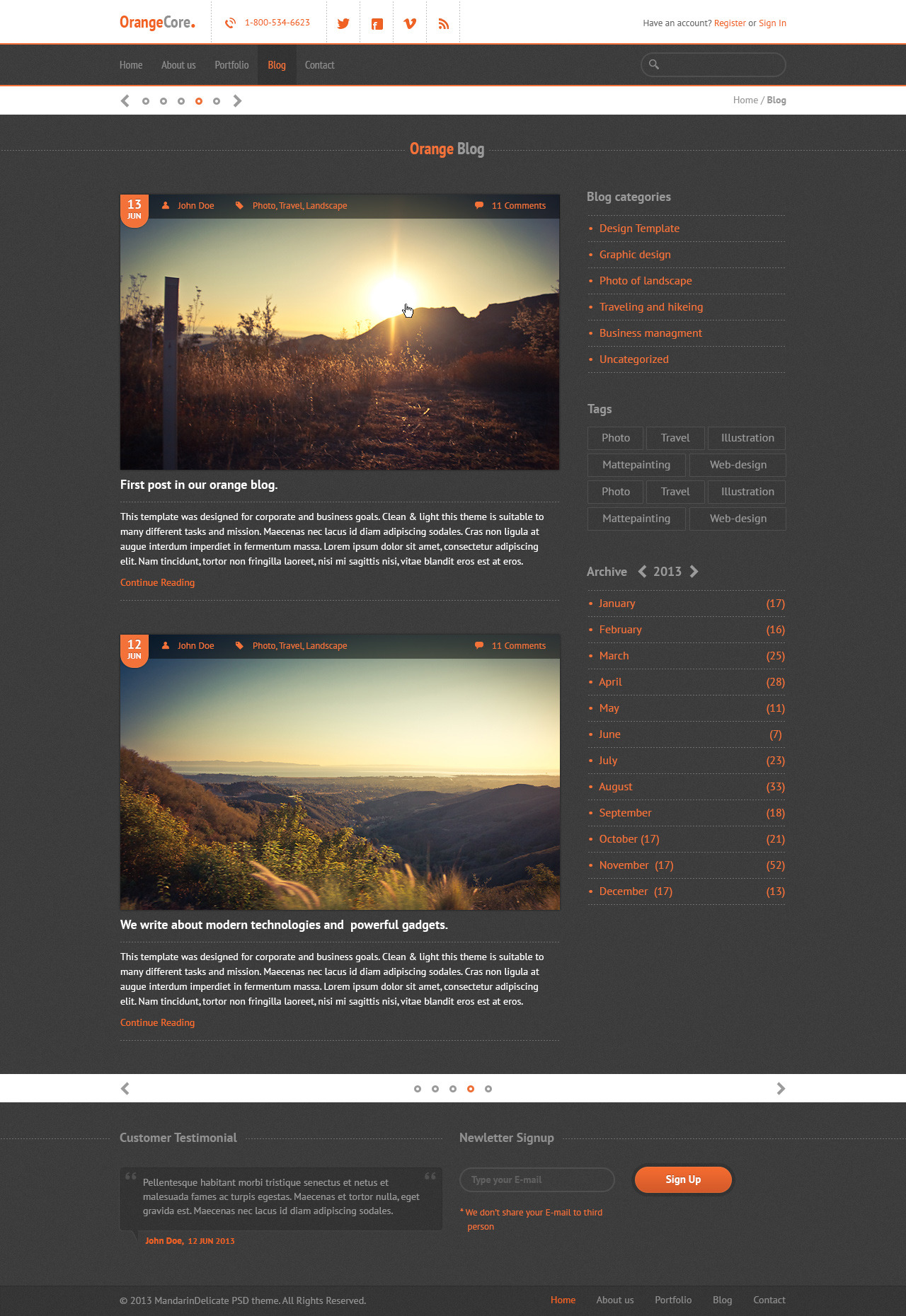 OrangeCore - PSD Template for Business Sites