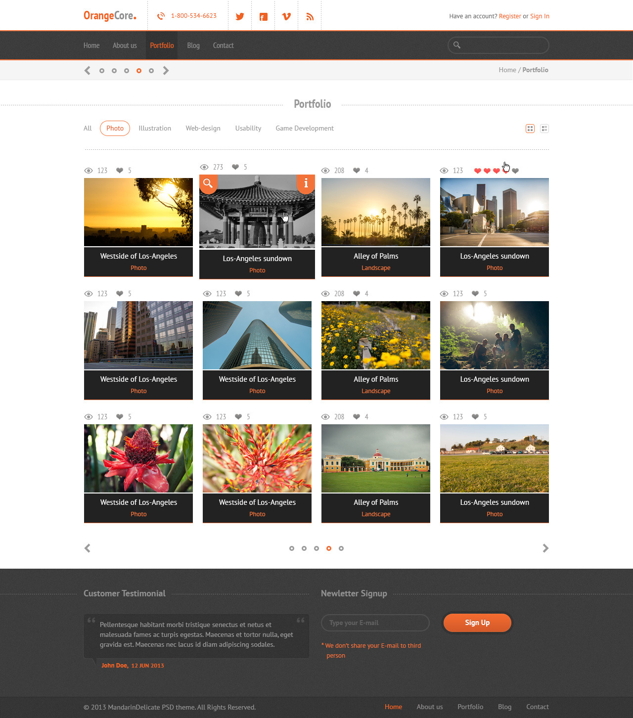 OrangeCore - PSD Template for Business Sites