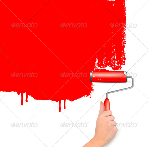GraphicRiver Red Background with Hand and Copy Space 4397897