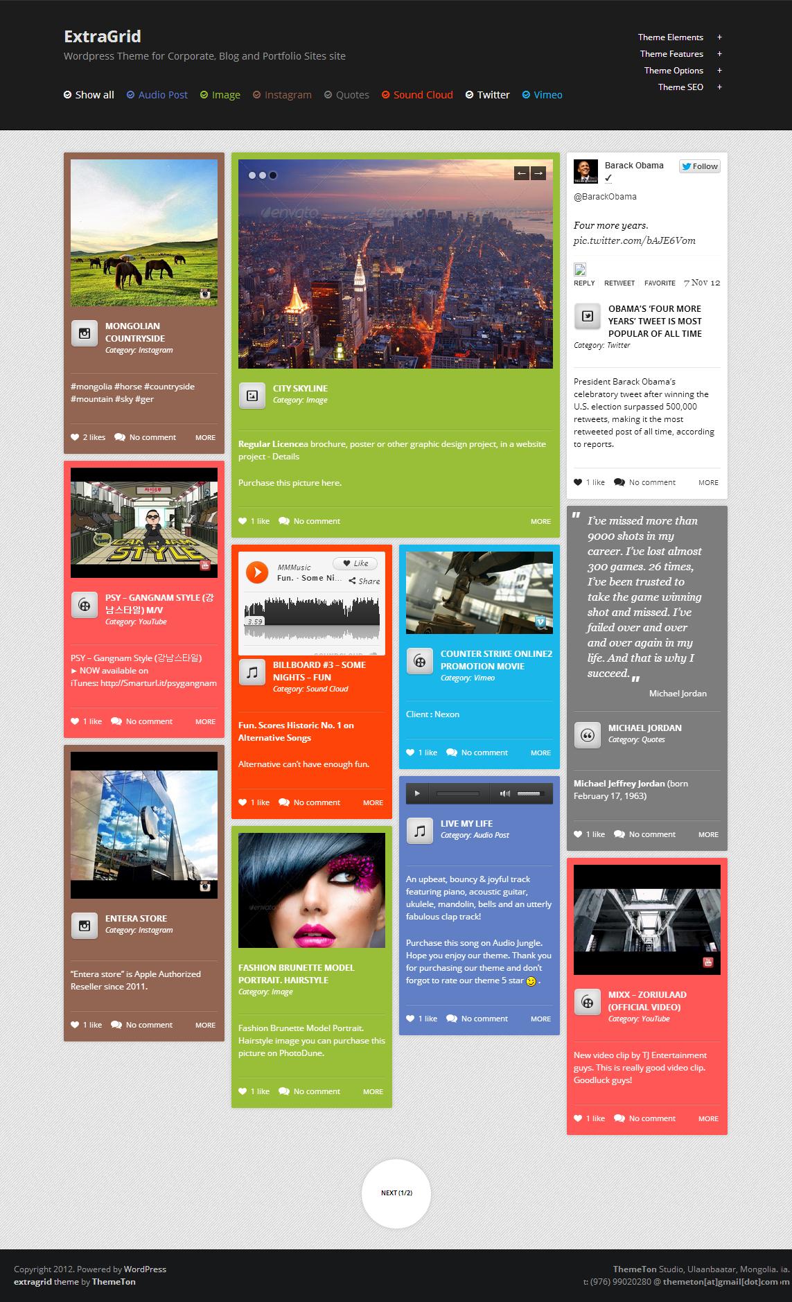 ExtraGrid - Creative, Blog & Multimedia theme - Screenshot