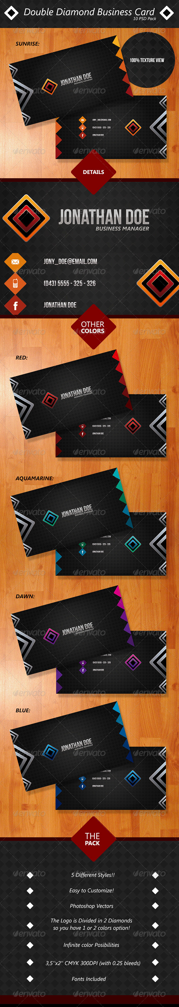GraphicRiver Double Diamond Business Card Pack 4357078