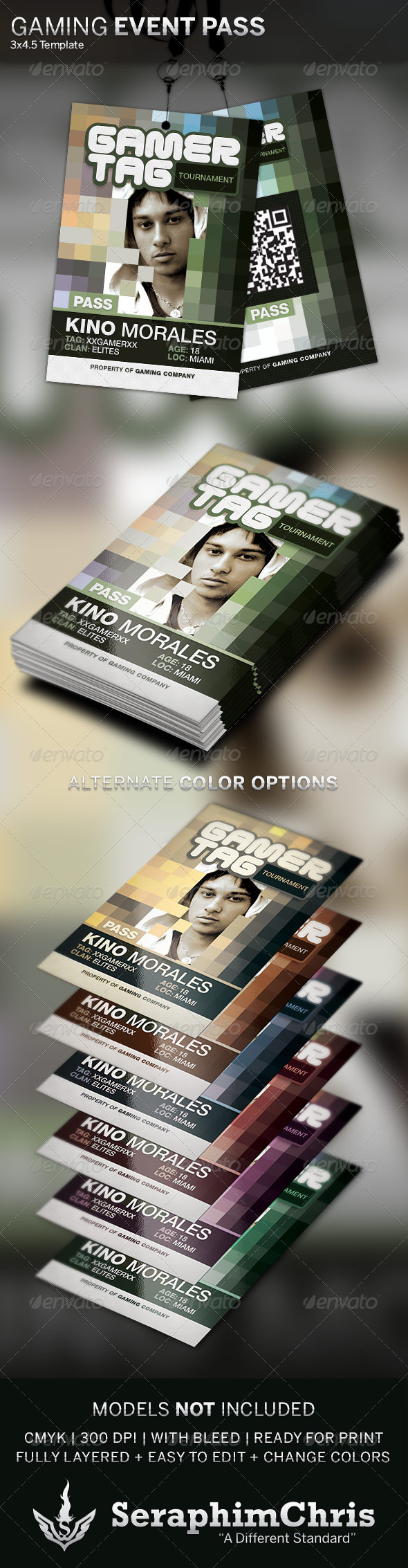 GraphicRiver Gamer Tag Event Pass Template 4354994