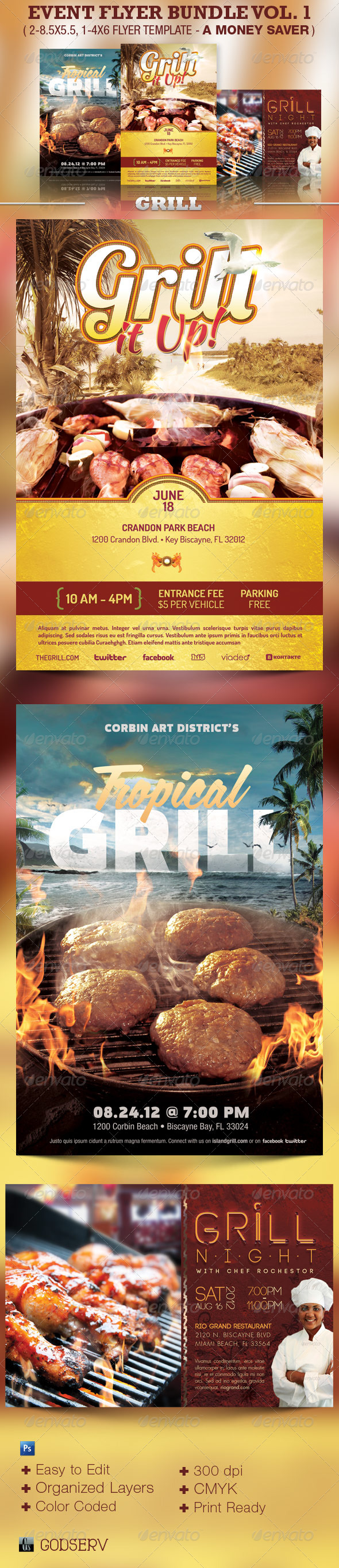GraphicRiver The Event Flyer Template Bundle Vol 1 Grill 4454169