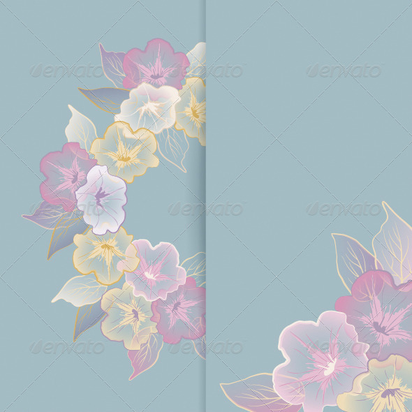 Floral Template with Pastel Flowers - Flowers u0026 Plants Nature