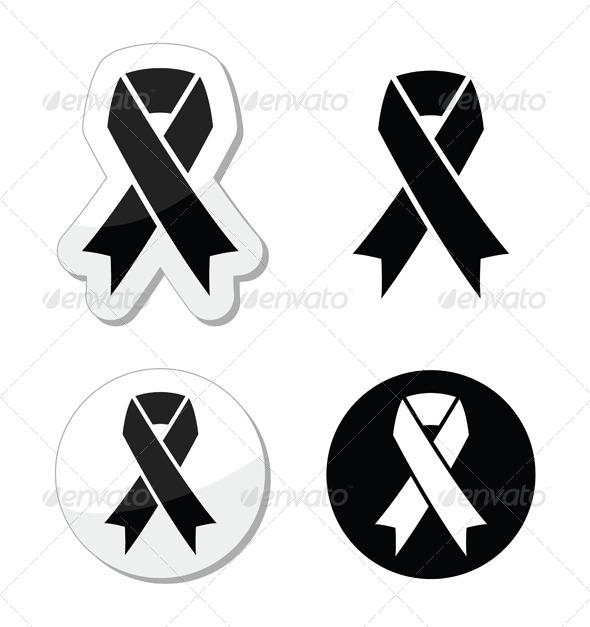 GraphicRiver Black Ribbon Mourning Death Symbol 4455662