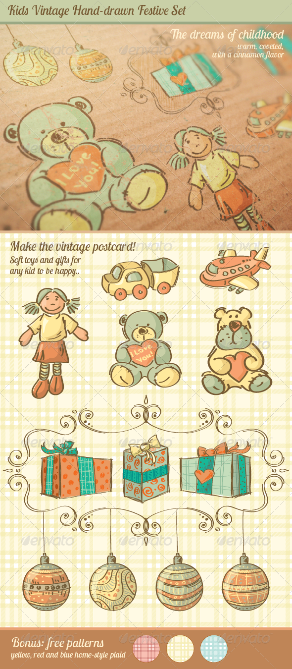 GraphicRiver Kids Vintage Hand-drawn Festive Set 4455797