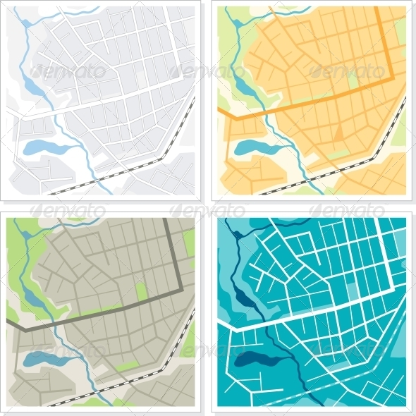 GraphicRiver Set of 4 Abstract Maps 4455802
