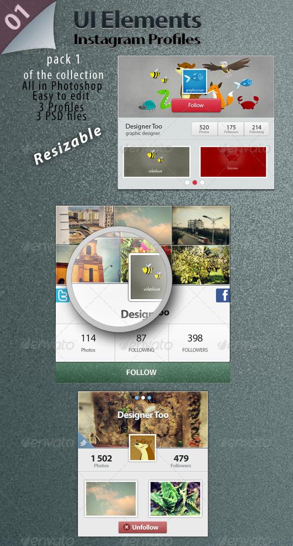GraphicRiver UI Elements Instagram Profiles 4455951