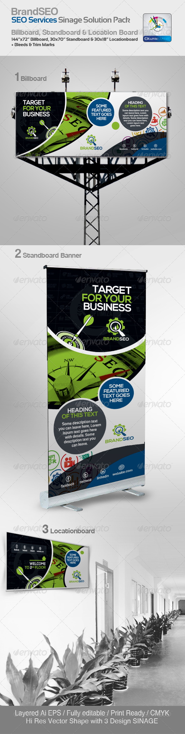 GraphicRiver BrandSEO Creative SEO Service Signage Solution 4354410