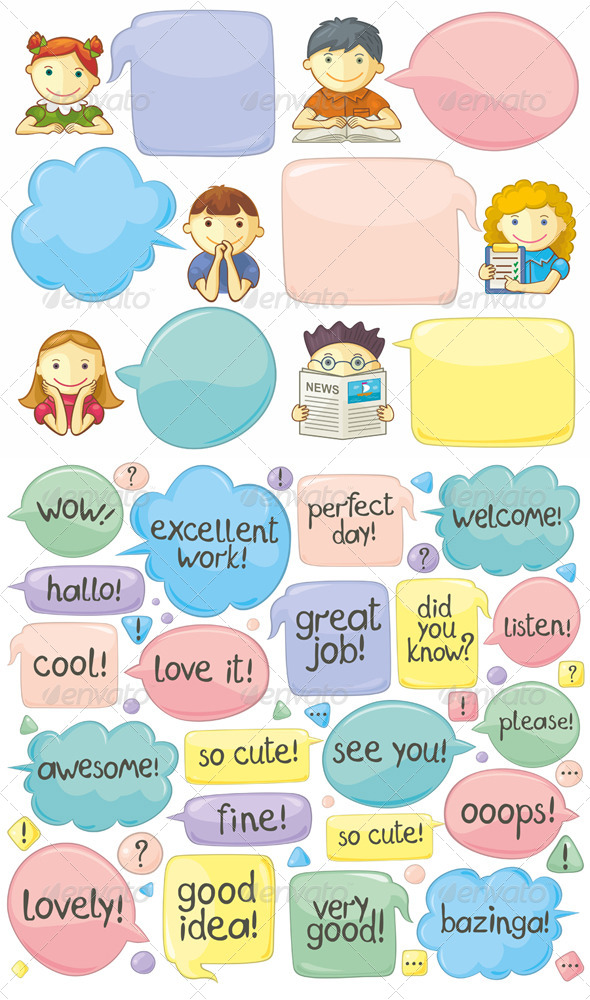 Cute Personages with Speech Bubbles - People Characters