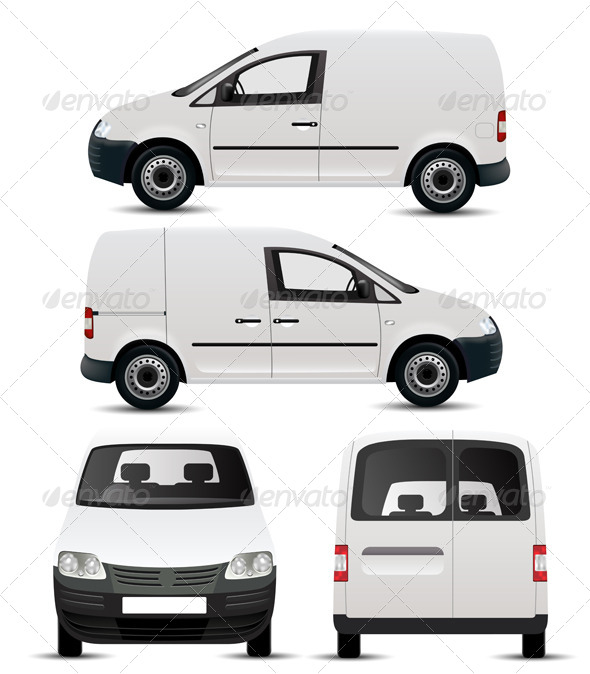 GraphicRiver White Commercial Vehicle Mockup 4456216