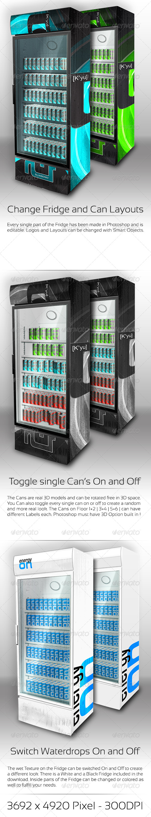 GraphicRiver XL Fridge Mockup with Energy Drink Soda Cans 4457029