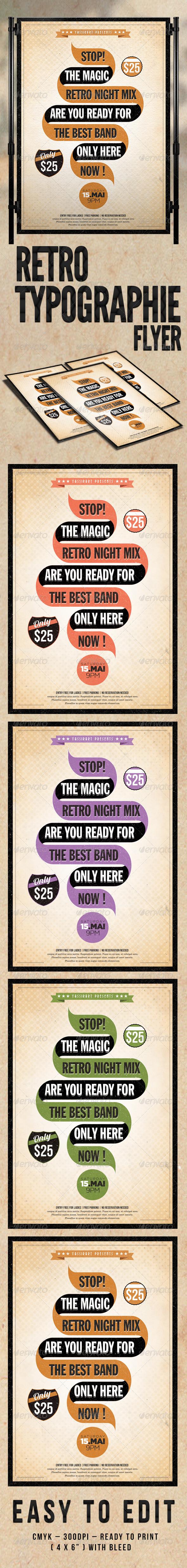GraphicRiver Retro Typographie Flyer Template 4457137