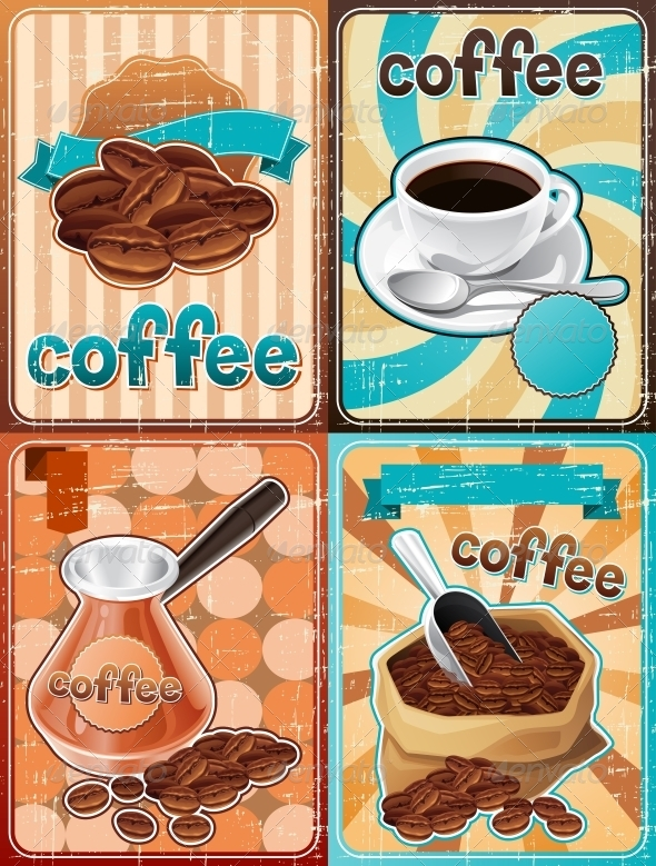GraphicRiver Retro Backgrounds with Coffee 4457190