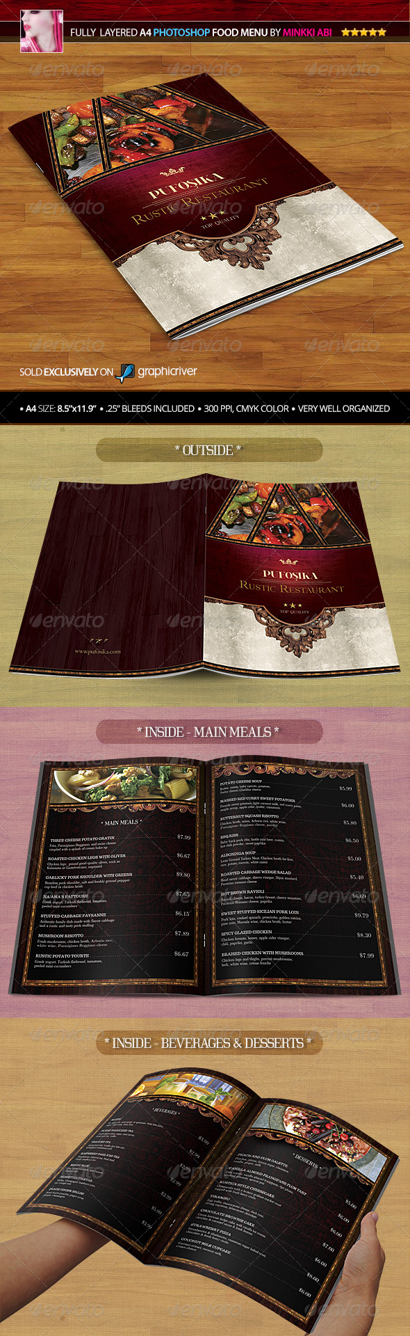 GraphicRiver A4 Rustic Restaurant Food Menu 4457260