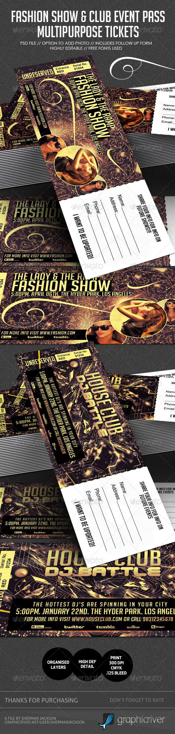 Fashion Show & Club Event Multipurpose Tickets - Miscellaneous Print Templates