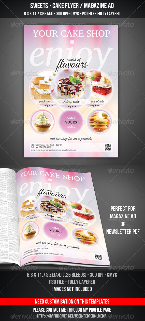 GraphicRiver Sweets Cake Flyer Magazine AD 4458245