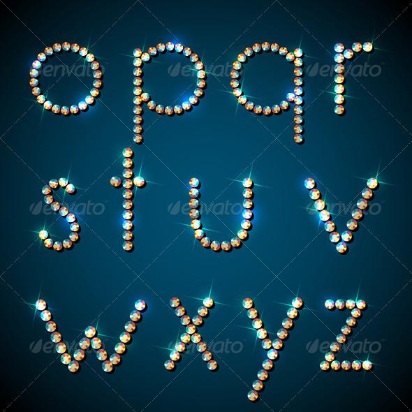 Shiny Diamond Alphabet Letters, Lower Case Version - Web Elements Vectors