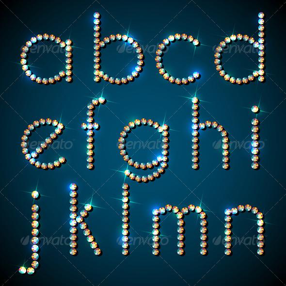 Shiny Diamond Alphabet Letters, Lower Case Version - Objects Vectors