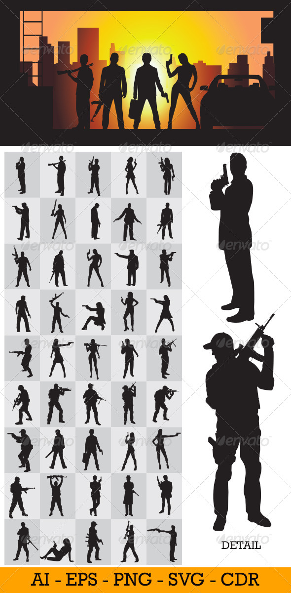 GraphicRiver Holding a Gun Silhouettes 4461913