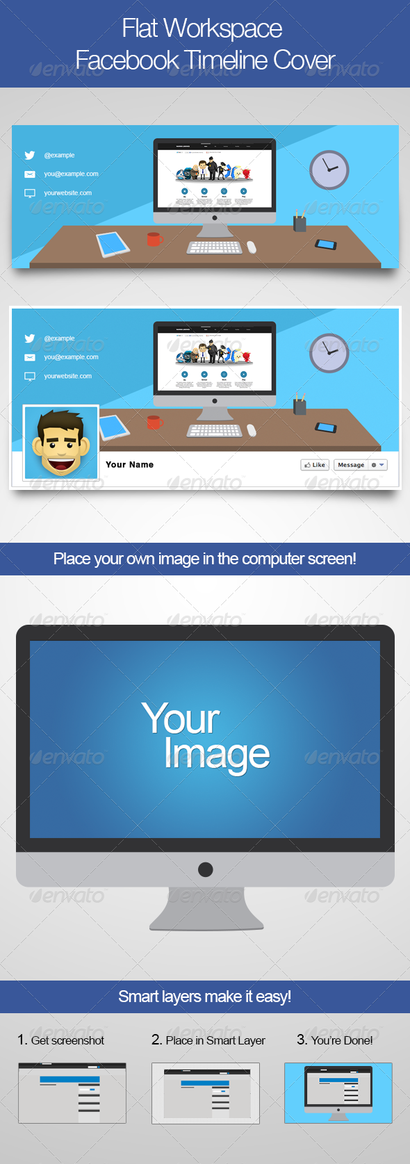 GraphicRiver Flat Workspace Facebook Timeline Cover 4462155
