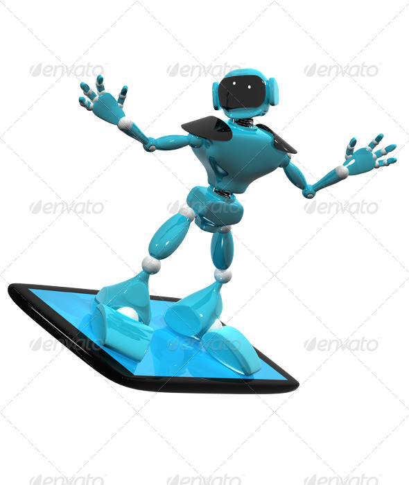 GraphicRiver Robot on a Smartphone 4411194