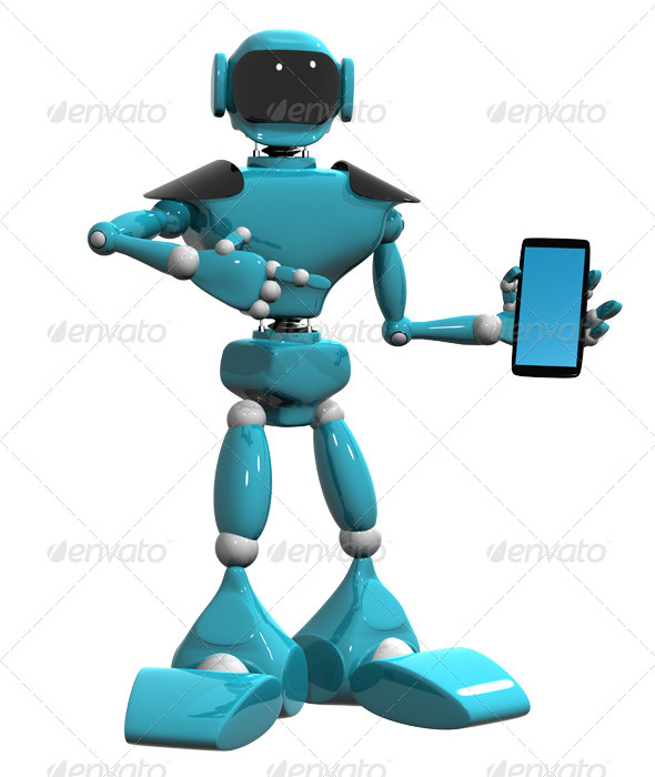 GraphicRiver Robot with a Mobile Phone 4411200