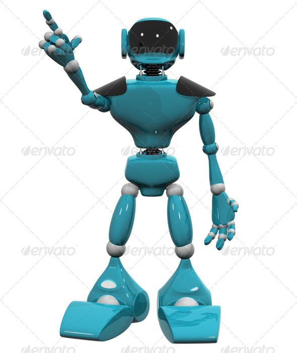 GraphicRiver Blue Plastic Robot on White Background 4408734