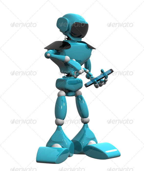 GraphicRiver Blue Robot and Smartphone 4408700
