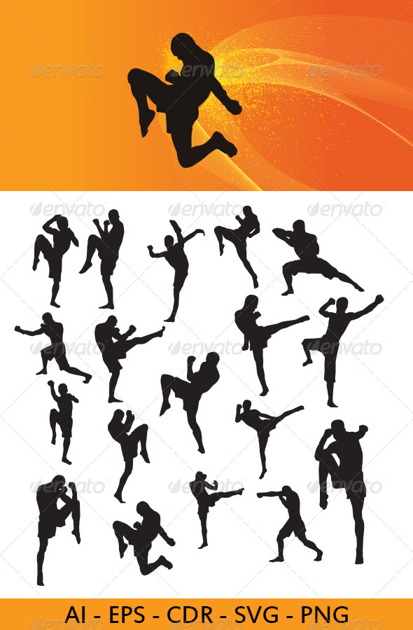 GraphicRiver Muay Thai Martial Art Silhouettes 4462214