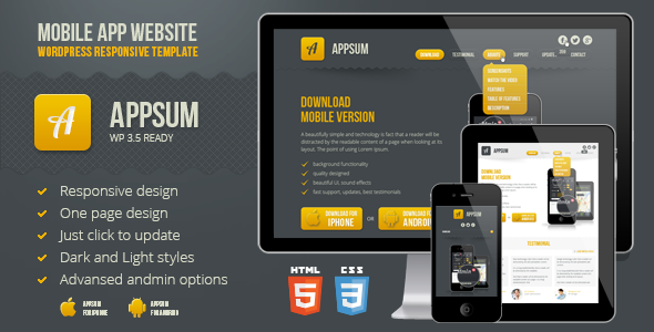 Appsum - wordpress responsive template - preview