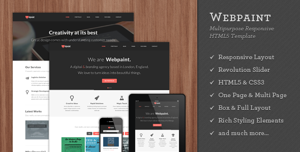 Webpaint - 2 in 1 Responsive HTML5 Template