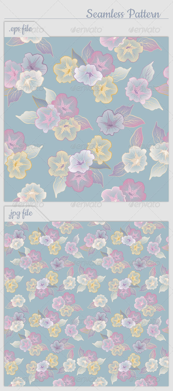 GraphicRiver Vector Floral Seamless Pattern Flowers 4465656