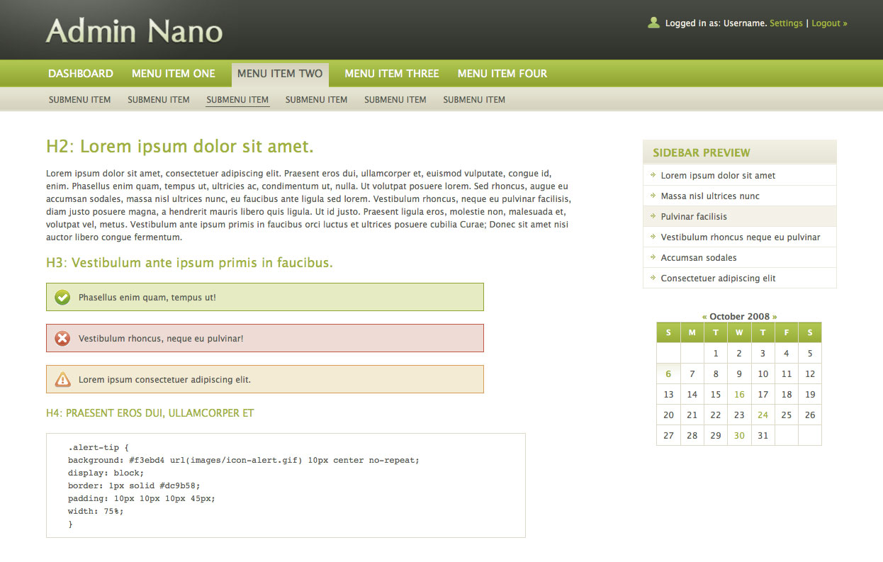 AdminNano - Homepage in default Green scheme, featuring some basic elements like paragraphs, headers, alert messages and calendar.