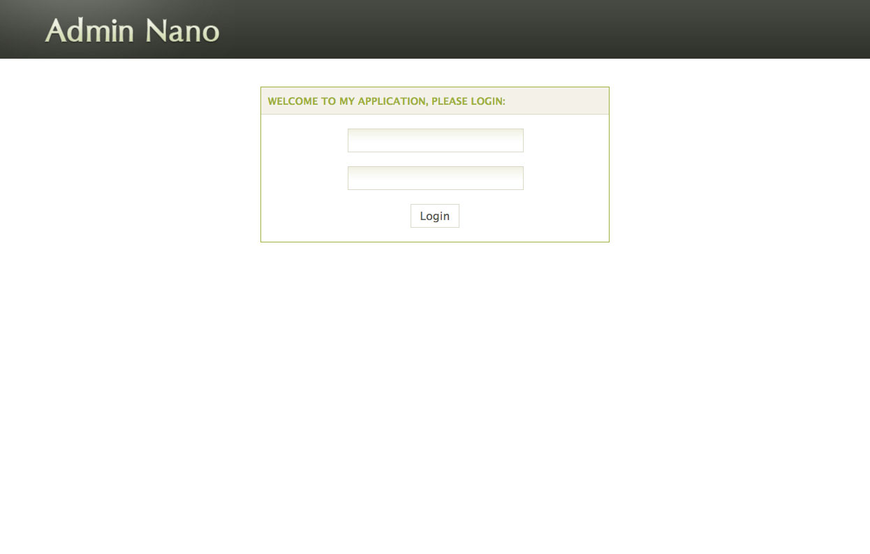 AdminNano - Login screen in default Green scheme, featuring some basic elements like paragraphs, headers, alert messages and calendar.
