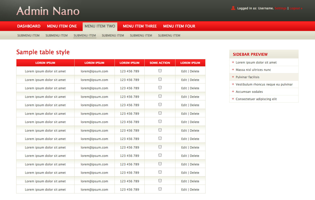 AdminNano - Showing sample table using Red color scheme.