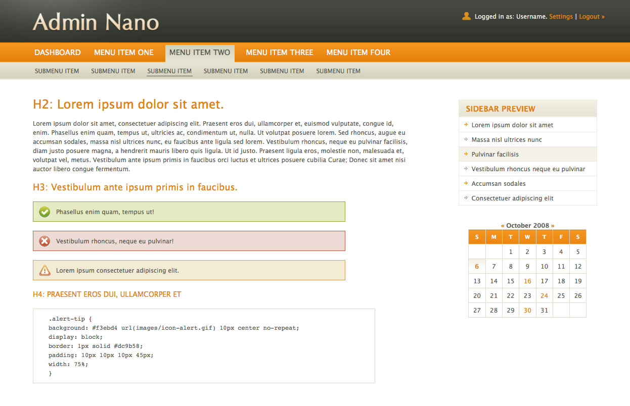 AdminNano - Homepage using Orange color scheme.