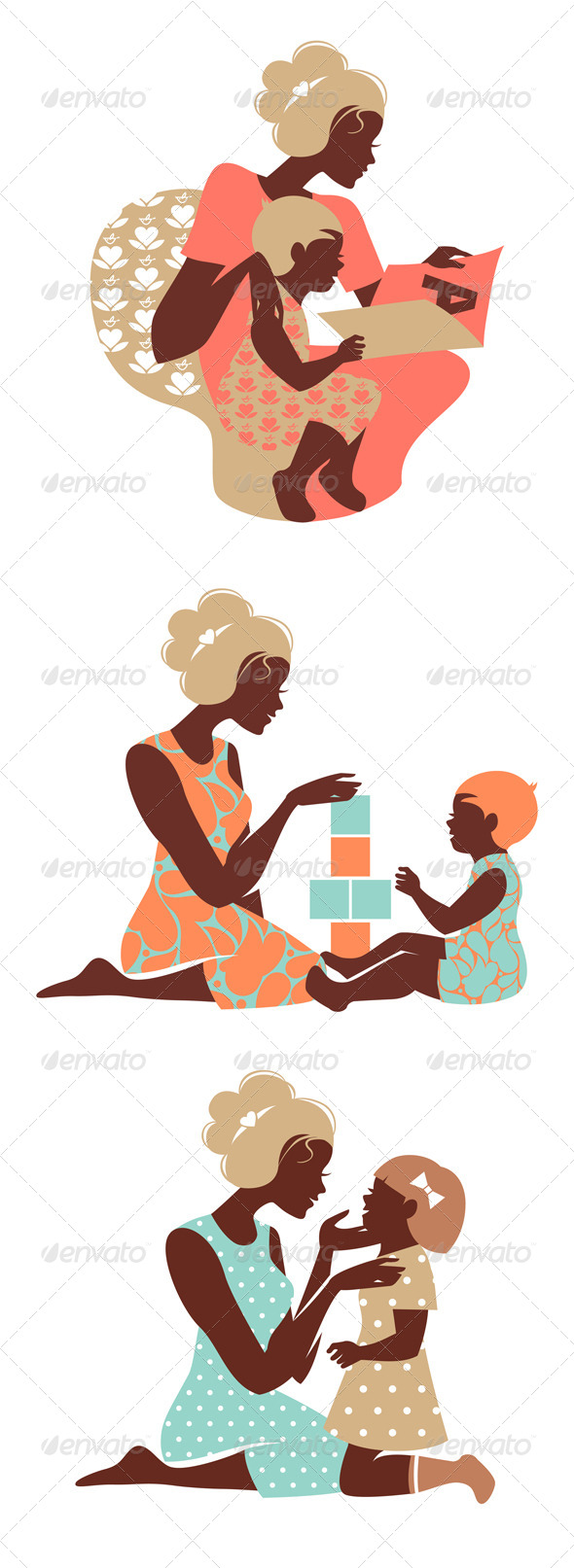 GraphicRiver Set of Mother and Baby Silhouettes 4467260
