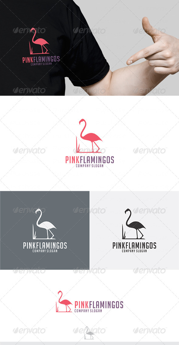 Pink Flamingos Logo - Animals Logo Templates