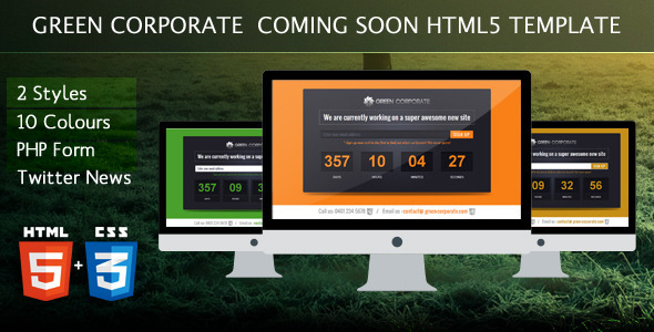 ThemeForest Green Corporate Under Construction Template 4468582
