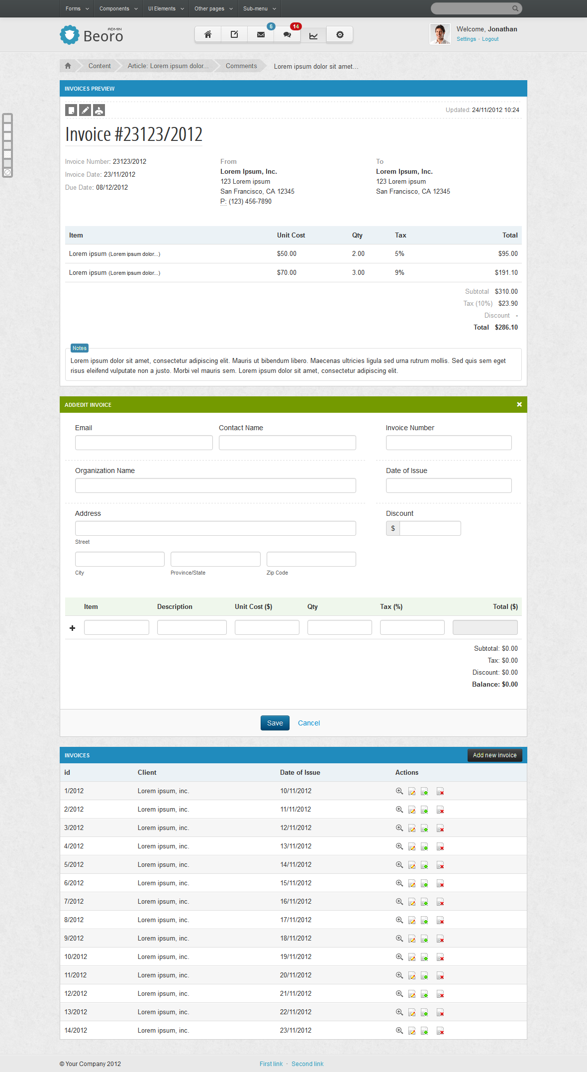 Beoro Admin Responsive Template - Beoro Admin Invoices