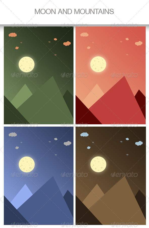 GraphicRiver Moon and Mountains Backgrounds 4468852