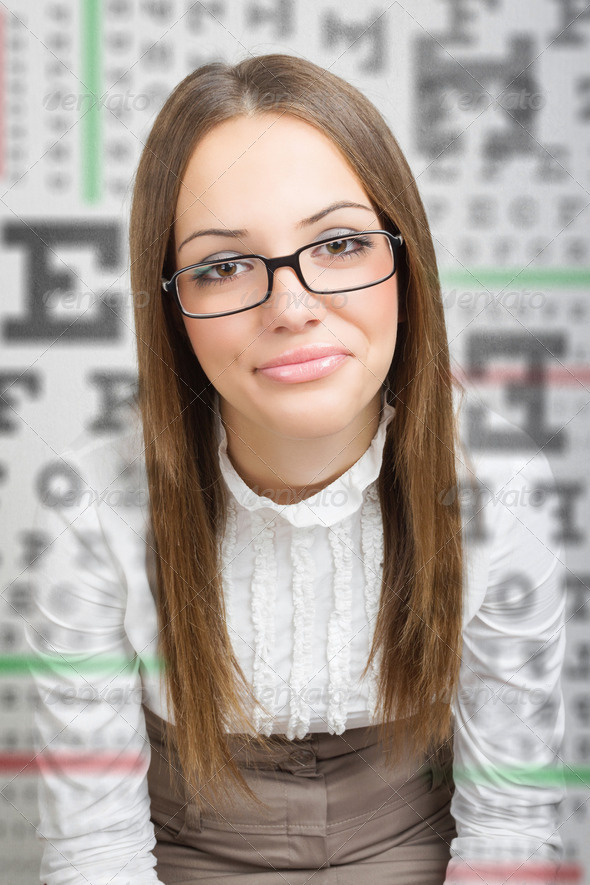 Businesswoman with eye vision problems - Stock Photo - Images